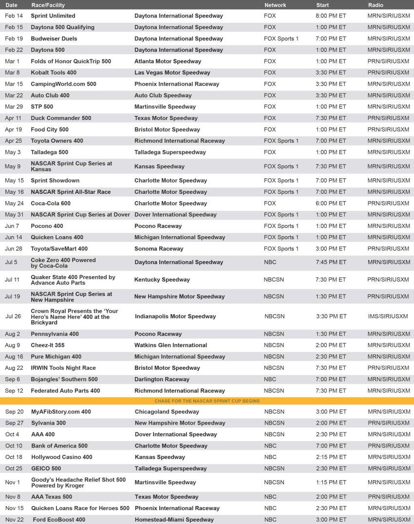 Nascar 2016 Tv Schedule Printable | Calendar Template 2016