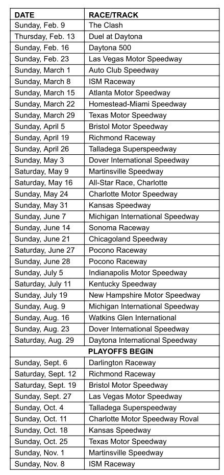 graphic about Printable Nascar Schedule referred to as 2020 NASCAR Cup Collection Routine