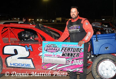 Salinas' Bobby Hogge used a dramatic pass on the outside to take his fifth career Pettit Shootout victory on Saturday night at Ocean Speedway in Watsonville, Calif. The victory in the tenth running of the Shootout paid $3006-to-win and came over a 64