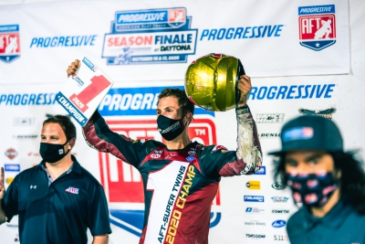 Indian Motorcycle Wrecking Crew Rider Briar Bauman Repeats as AFT SuperTwins Champion