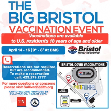 Sullivan County Health Dept. To Conduct Three-Day Mass Vaccination Event at Bristol Motor Speedway, April 14-16