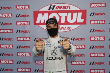 Happy Helio Celebrates Collecting Motul Pole Award at Michelin Raceway Road Atlanta